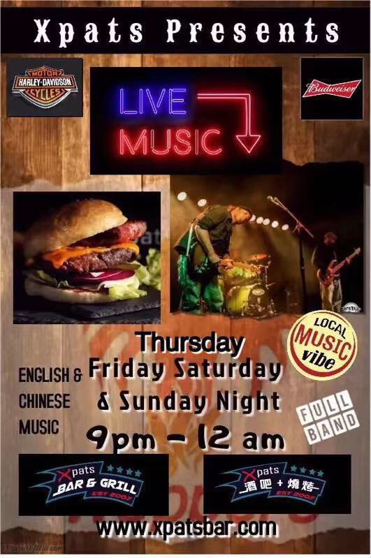 【Xpats Bar & Grill】Live Music Thursdays, Fridays & Saturdays