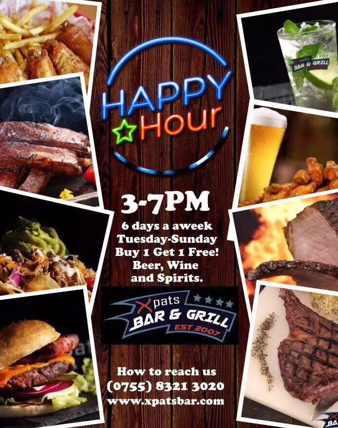 【Xpats Bar & Grill】[HappyHour]  Buy 1 Get 1 Free