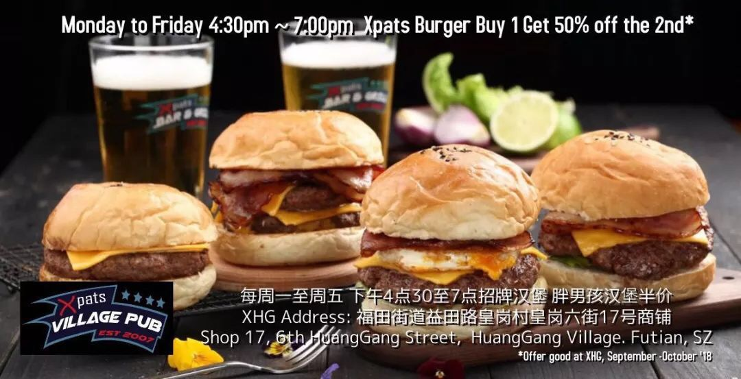 【XPats Village Pub】50% OFF Second Burger